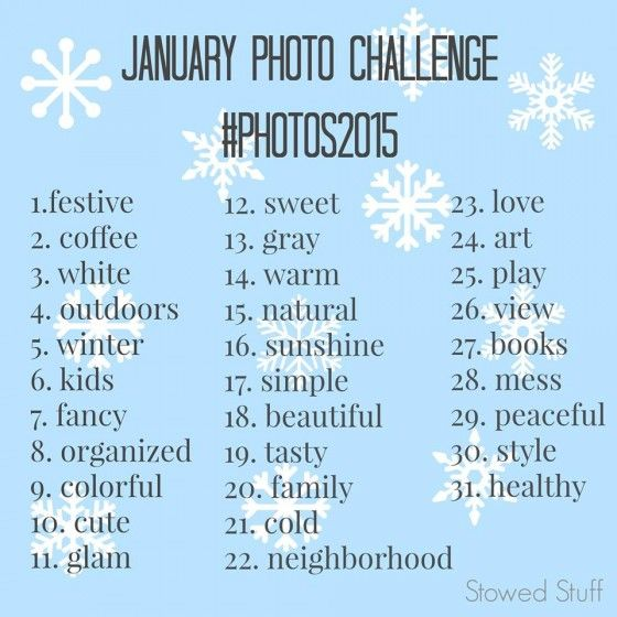 January Photo Challenge! Join the fun on Instagram or Facebook! #photos2015