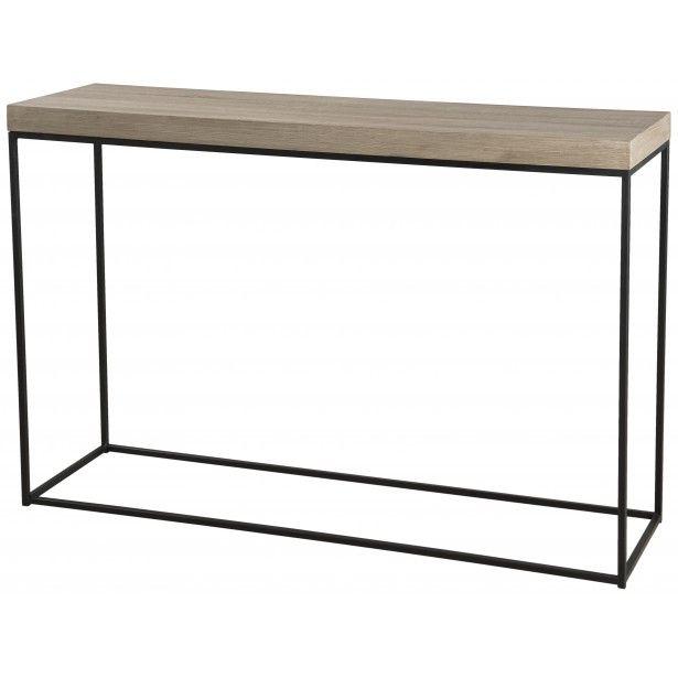 Console rectangulaire industrielle bois et pieds métal noir 120X35X81cm LALI