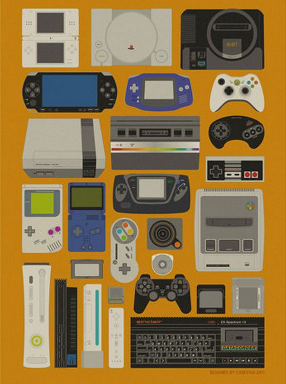 Videogames Poster  shows evolution of gaming platforms. from retro to modern. Objects are organised by how shapes fit together. There is even spacing between them. This was created digitally. The shapes used are mostly quadrilaterals.  Quite dull colours are used for the image.