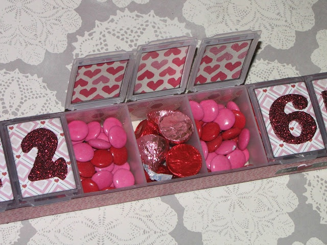7 Days of Love Candy Calendar (made from a plastic weekly pill reminder box!): Could do for any fun count down. with themed candy