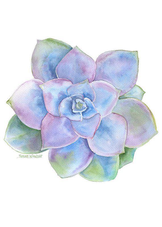 Peinture A L Aquarelle Succulentes Bleu Et Violet Jet D Encre