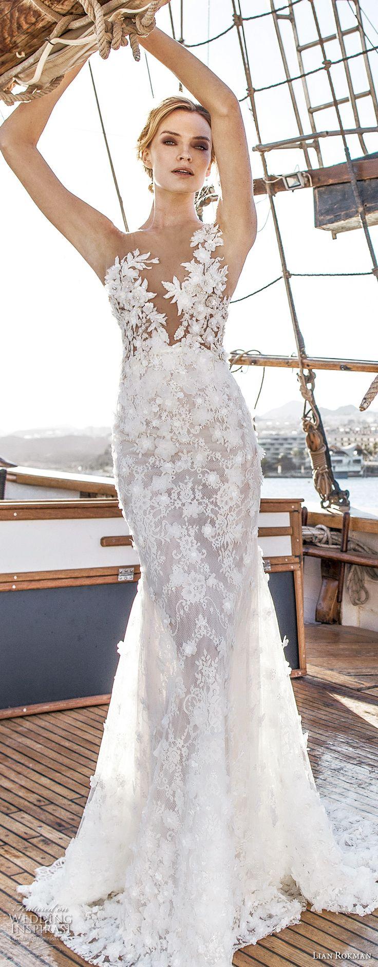 lian rokman 2017 bridal sleeveless deep v neck full embellishment elegant romantic trumpet mermaid wedding dress open back sweep train (jade) mv -- Lian Rokman 2017 Wedding Dresses