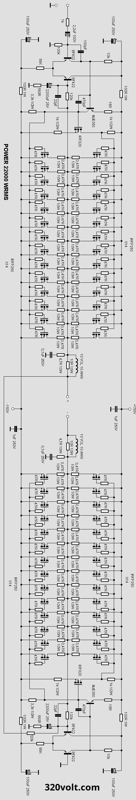 1000 watt amplifier circuit diagram [ 472 x 2776 Pixel ]