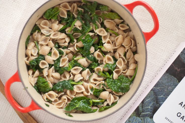 Whip together this simple, healthy meal with whole wheat orecchiette, an easy gorgonzola sauce and steamed-with-the-pasta spinach.