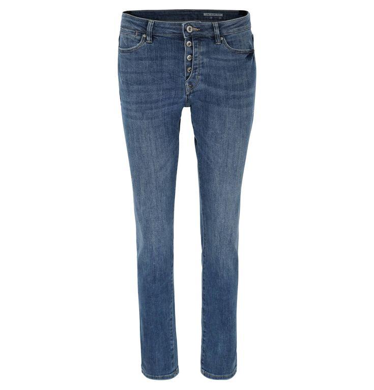 Jeans, Slim Fit, Used-Look, Kontrastnähte