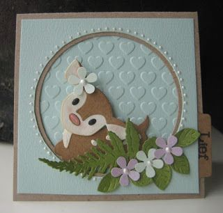 Handmade card by DT member Boukje with Collectables Eline's Deer (COL1401), Creatables Tiny's Ferns (LR0403), Design Folder Extra - Hearts (DF3414) & Craftables Circle (CR1201) from Marianne Design