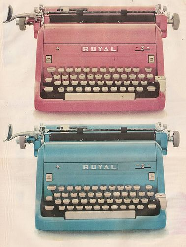 a vintage typewriter no matter the color, as long as it works and makes perfect sounds and imperfect letters