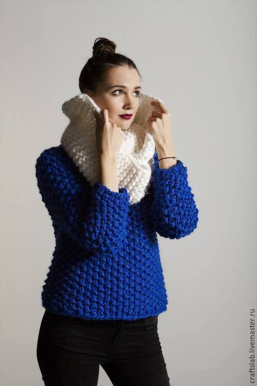 Knitted sweater | Купить Вязаный свитер №1 свитер вязаный Вязаный на спицах - тёмно-синий, однотонный