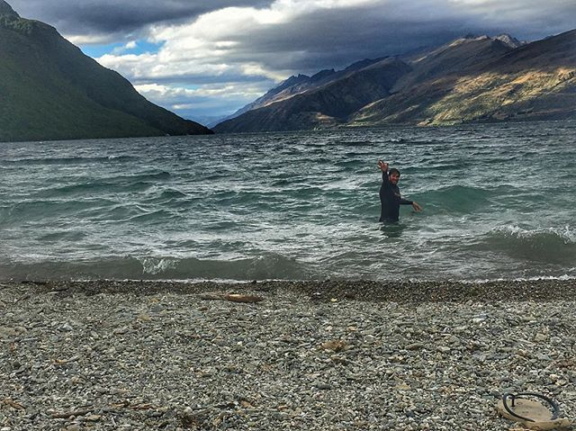 Crazy man swimming in the lake ....brrr