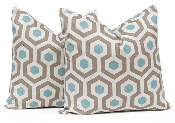 Decorative Throw Pillow Cover One All Sizes by FestiveHomeDecor Brown and Blue Geometric Pillow Cover Home Decor Modern, $15.00