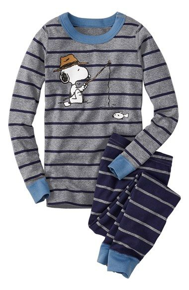 Hanna Andersson 'Peanuts®' Organic Cotton Fitted Two-Piece Pajamas (Toddler Boys, Little Boys & Big Boys)