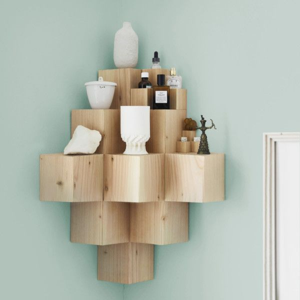 A statement piece storage...would be great in a bathroom. Orig: Wooden shelves for walls