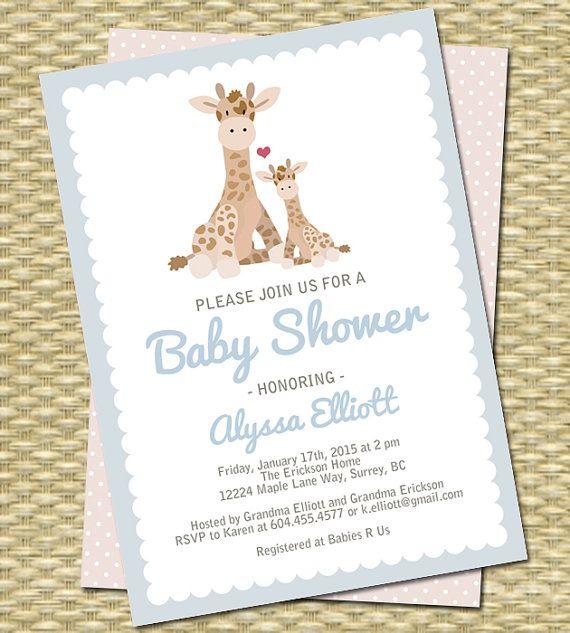 Giraffe Baby Shower Invitation Gender Neutral Baby Shower Invite Giraffe and Mom Baby Girl Shower Baby Boy Shower Invitation Printable
