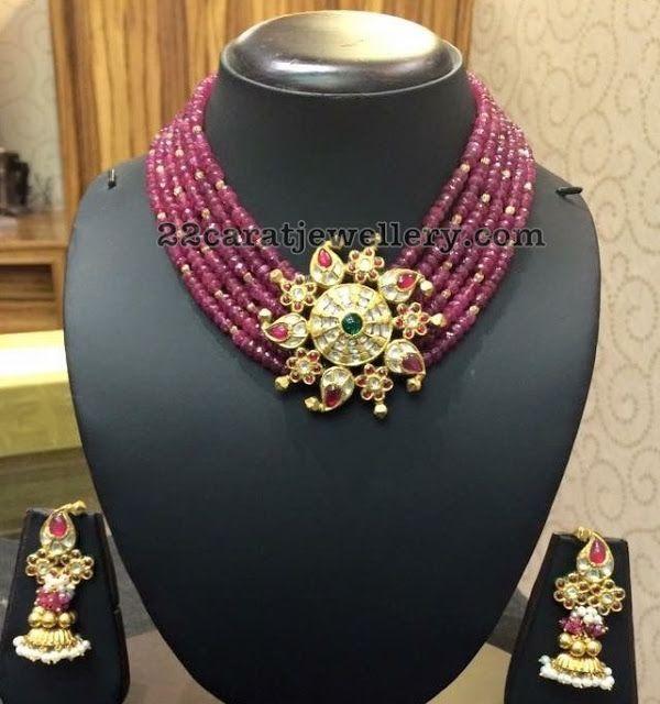 Ruby Beads Choker Jhumkas - Jewellery Designs
