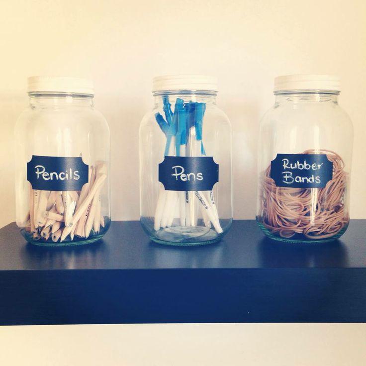 Chalkboard labeled stationary jars  #jars #stationary #pens #pencils #study #office #chalkboardlabel