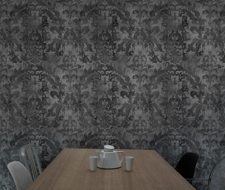 Carta da parati DARK URBAN CONCRETE DAMASK by Mineheart design Young