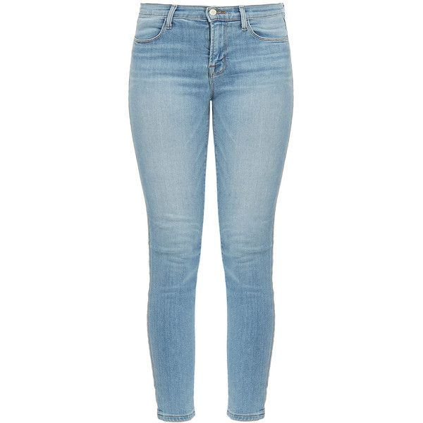 J Brand Alana High Rise Crop Skinny Oceanside Jeans (€100) ❤ liked on Polyvore featuring jeans, pants, bottoms, blue, high waisted stretch skinny jeans, cropped skinny jeans, stretch skinny jeans, super stretch skinny jeans and super high rise skinny jeans