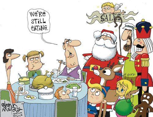 Ahem, do you mind? ~ pushy Christmas characters invading Thanksgiving   cartoon by Glenn McCoy via Flopping Aces