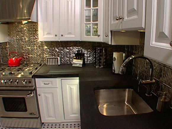 How to Install Ceiling Tiles as a Backsplash | Interior Design Styles and Color Schemes for Home Decorating | HGTV