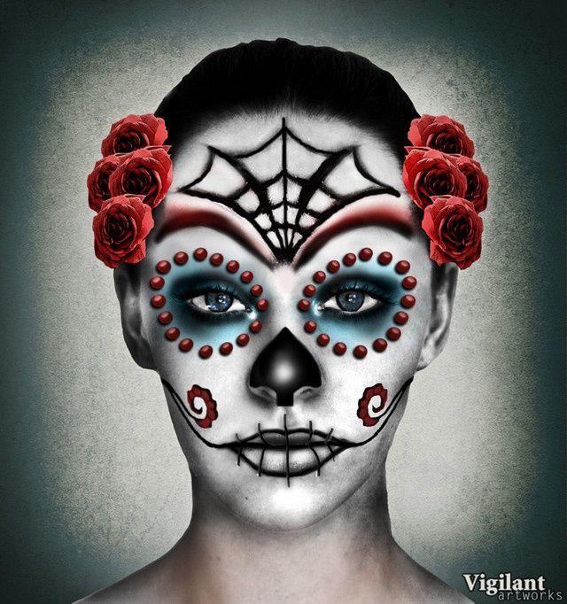 mexican sugar skull face by vigilant - Mexican Halloween Skulls