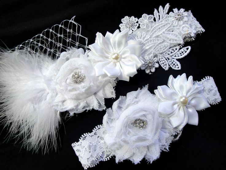 Garter, Bridal Garter, Bridal Garter Set, Wedding Garter Belt, White Bridal Garter Set, Vintage Inspired, Shabby Chic Bridal Garter. $34.95, via Etsy.