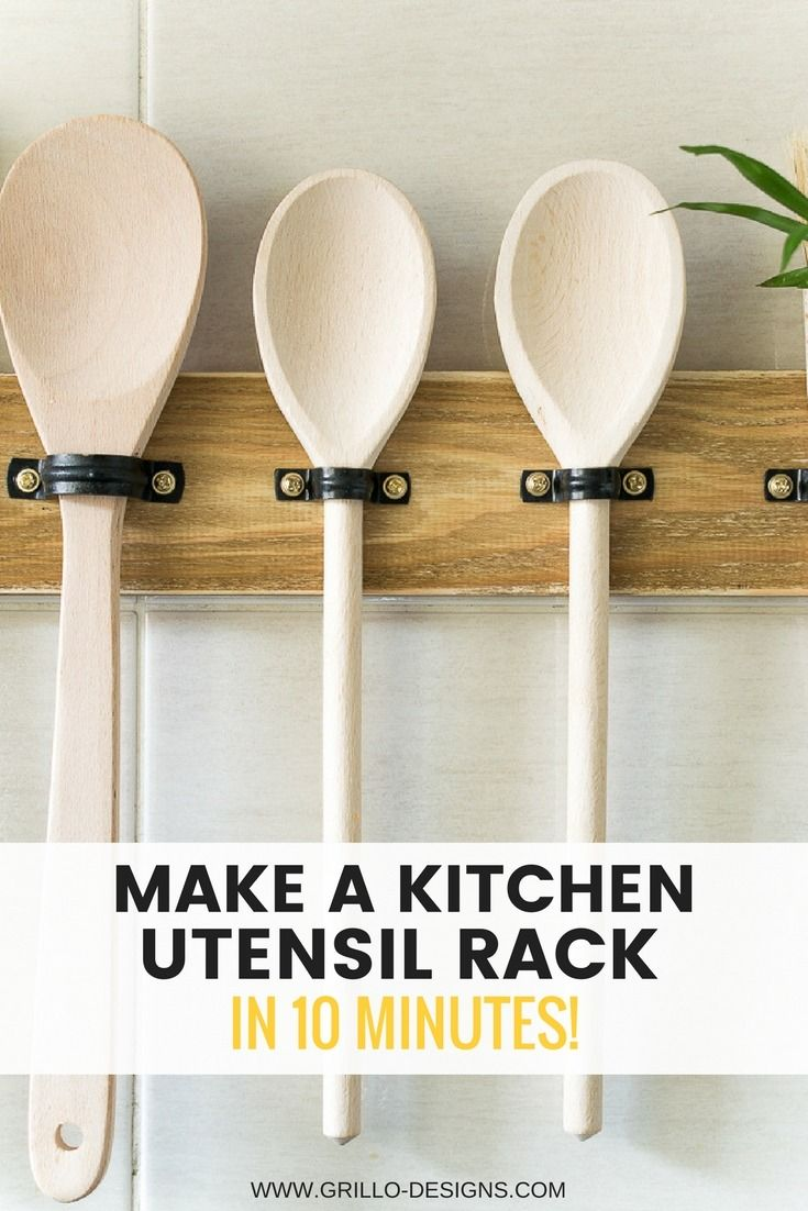 Free up valuable kitchen counter and drawer space in just a few minutes. This easy tutorial for a DIY utensil rack will get your kitchen essentials organized.