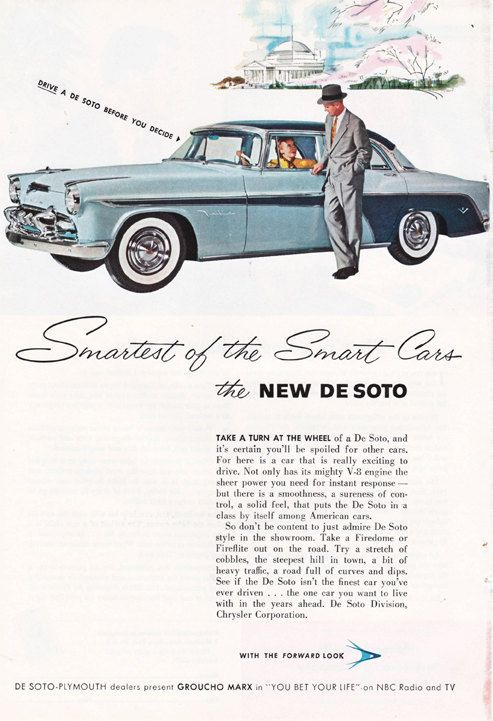 1950's vintage ad,  Coronado De Soto, this is a good source for vintage illustrations, ads, and paper ephemera.  #vintage illustrations #vintage ads #vintage cars