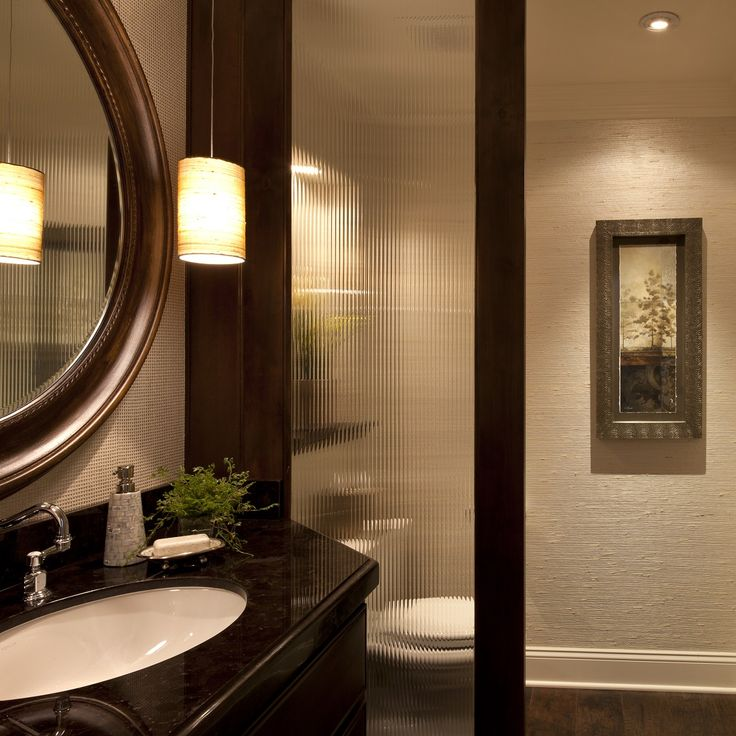 Powder Room Bathroom Design Ideas   Robeson Design Divider Is Custom  Ordered French Door With No Hardware, Single Light In Reeded Glass.
