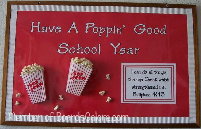Have A Poppin' Good School Year! Popcorn Back-to-School Bulletin Board Idea