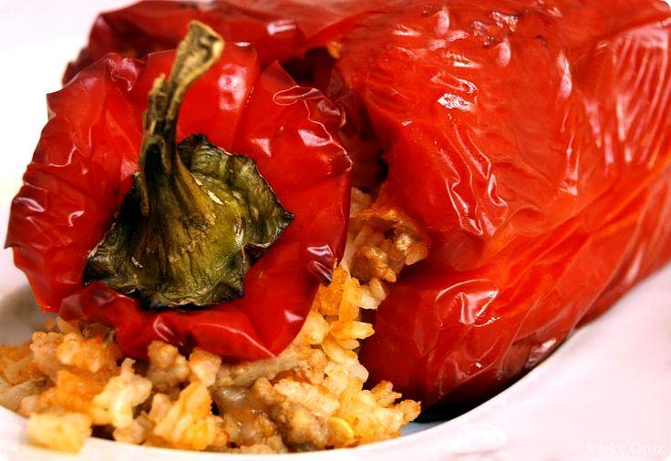 Pimientos rellenos de arroz y carne picada con Thermomix. Una receta para quedar muy bien en casa.