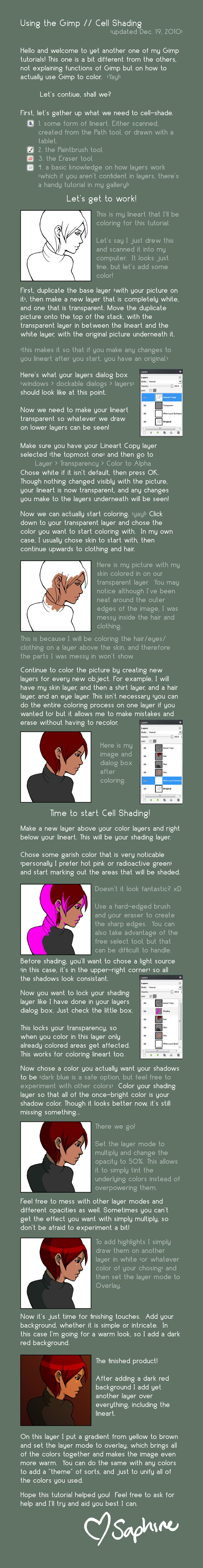 Using The Gimp :: Cellshading By Saphiremomo________________most Useful  Cell Shading Tutorial For Me