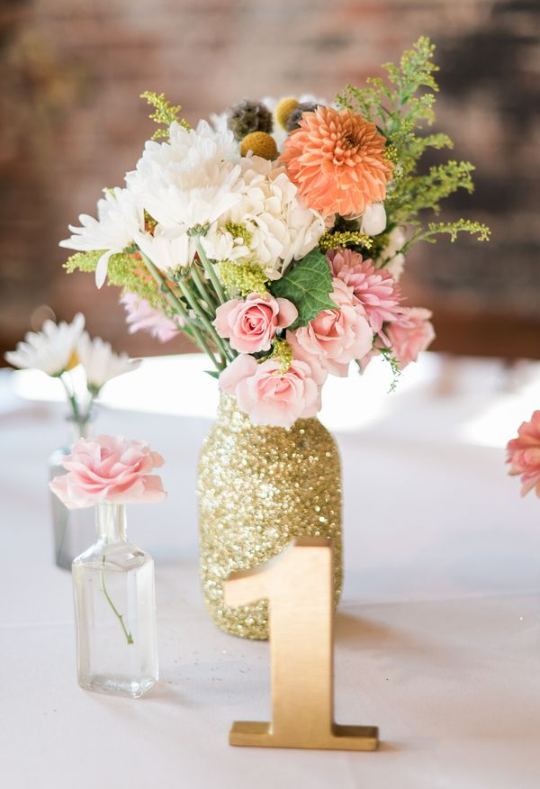 DIY gold glitter vases, modern gold table number, pink and cream florals // A.J. Dunlap Photography