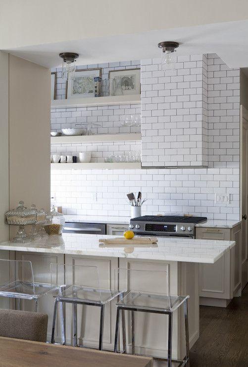 vintage style subway backsplash + taupe cabinets & floating shelves