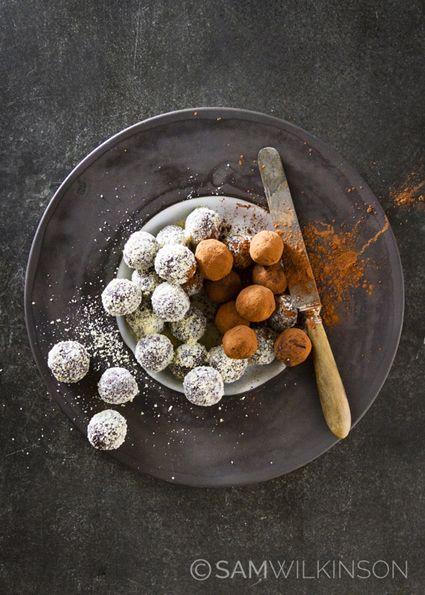 Food Photography Honey nut latte truffles