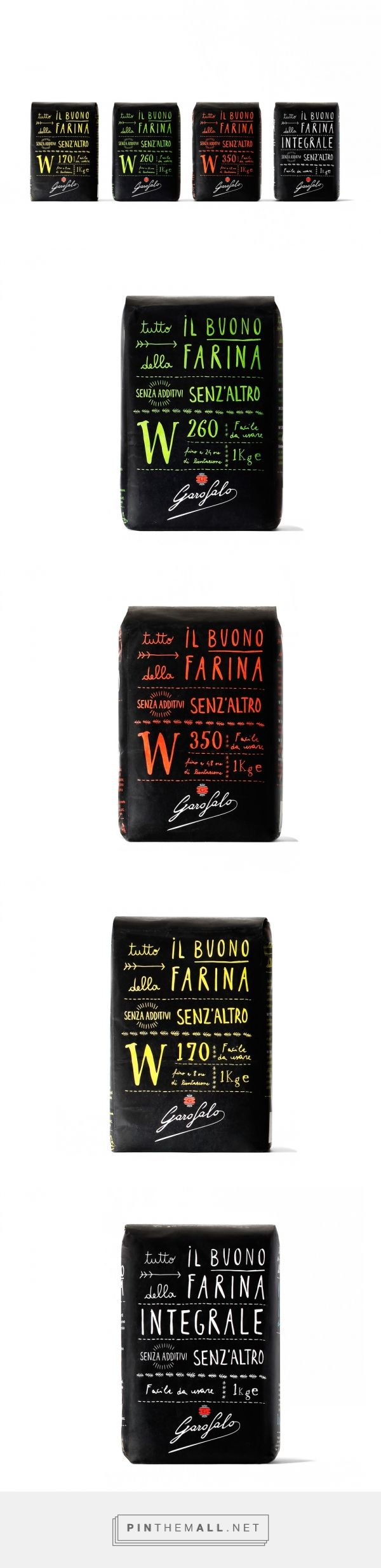 Garofalo via The Dieline - Branding & Packaging curated by Packaging Diva PD. Tasty black flour packaging. Garofalo worked with Angelini Design for the packaging and identity of its range of premium flours.