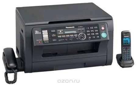 Panasonic KX-MB2051 RUB, Black  — 12058 руб. —  Panasonic KX-MB2051RU - это офисное МФУ с сетевым интерфейсом и расширенными функциональными возможностями: 6 в 1. Ключевыми преимуществами этой модели являются высокая скорость печати (до 24 стр/мин), цифровой автоответчик на 30 минут записи и наличие беспроводной DECT трубки в комплекте. Panasonic KX-MB2051RU объединяет под одним корпусом функционал 6-ти устройств (принтер, цветной сканер, копир, факс, PC-факс, телефон). МФУ выполнено в…