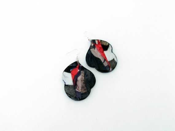 Buy Cloud Earrings Illustrated Resin Collage Earrings Runway Black Red Illustrated Jewelry For her by sotiriavasileiou. Explore more products on http://sotiriavasileiou.etsy.com