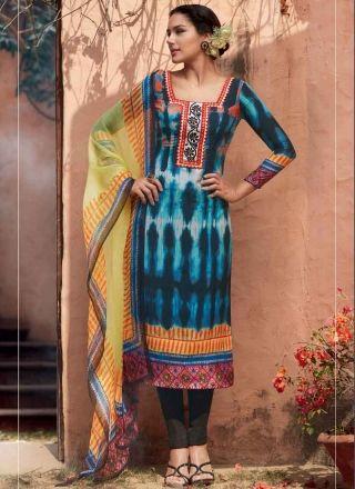 Blooming Black Neck Embroidery Cotton Silk Churidar Suit #salwarkameez #dresses #Suits  http://www.angelnx.com/Salwar-Kameez