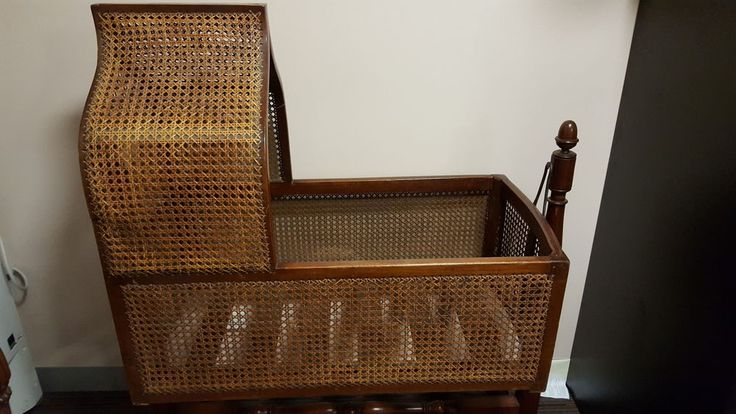 Victorian Suspended Cradle Antique Bassinet Crib Brown Wooden and Wicker