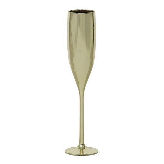 Gold Plastic Champagne Flute Favors, 2ct