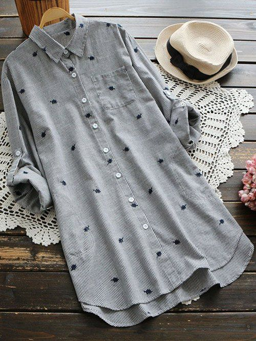 $31.99 Leaf Embroidered Striped Pocket Tunic Shirt - GRAY ONE SIZE