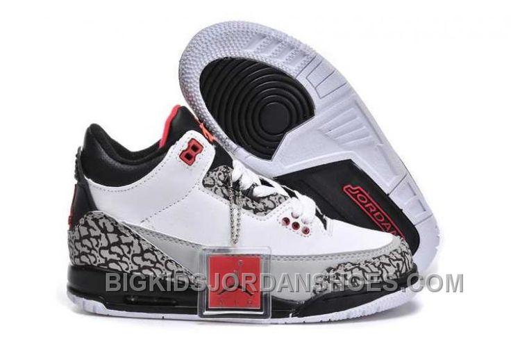 http://www.bigkidsjordanshoes.com/hot-nike-air-jordan-3-kids-black-fire-red-white-grey-shoes.html HOT NIKE AIR JORDAN 3 KIDS BLACK FIRE RED WHITE GREY SHOES Only $84.68 , Free Shipping!