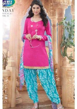 Pink Cotton Patiala Suit, - Rs. 898.00, #IndianSuit #DesignerSalwarKameez #DubaiShopping #Shopkund