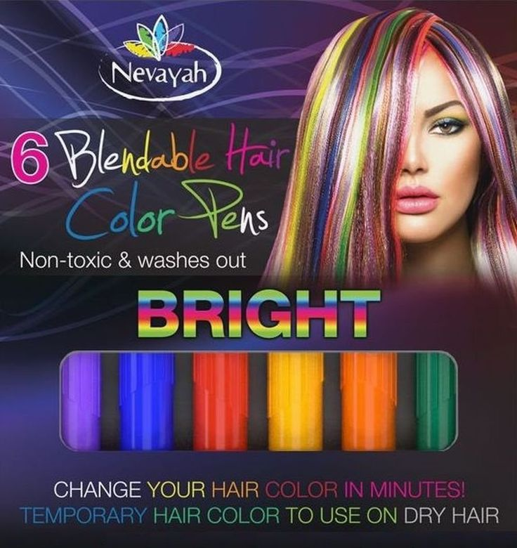 Nevayah Hair Chalk Temporary Hair Multicolor Dye Pens,  Light Purple / Medium Blue / Red / Yellow / Orange / Dark Green (6 Pens) *** Be sure to check out this awesome product.