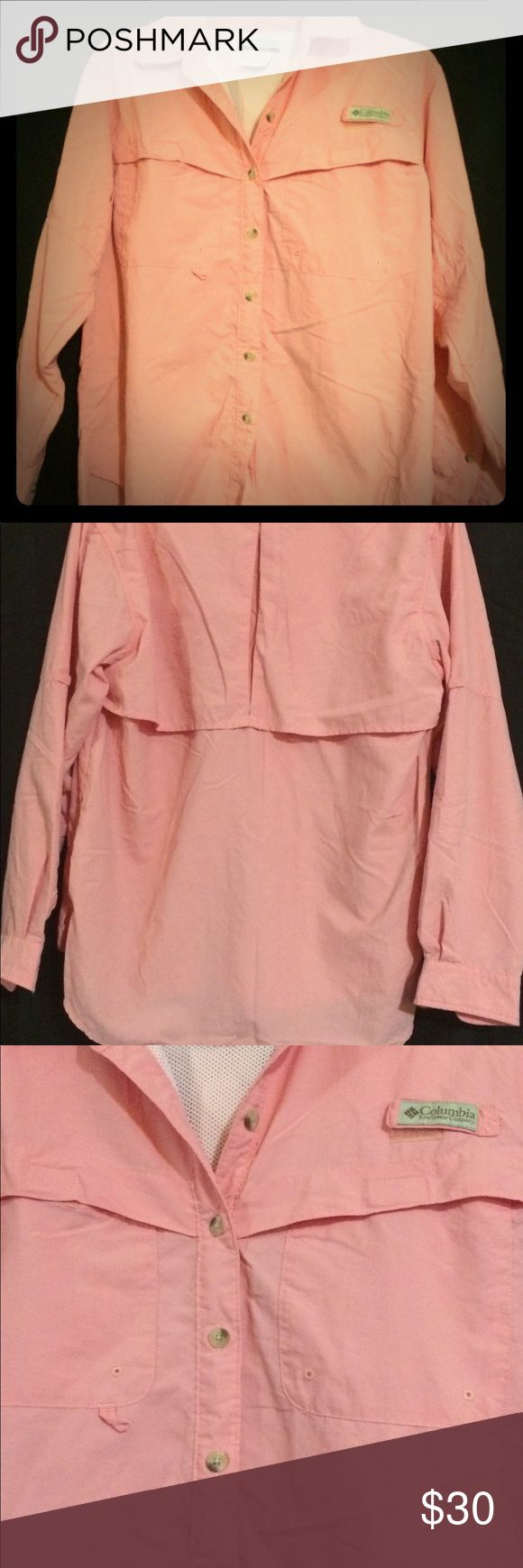 Columbia Women's PFG shirt Women's Columbia Peach PFG shirt Columbia Tops Button Down Shirts