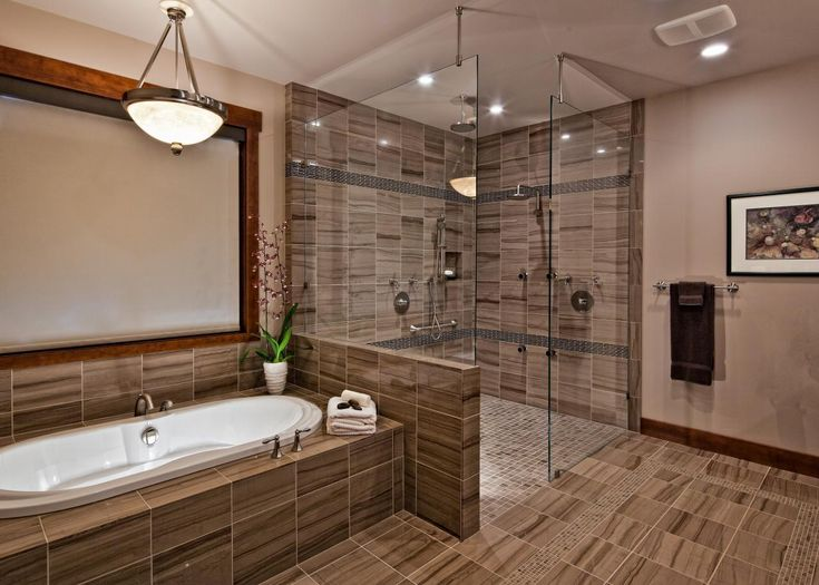 beautiful striped stone tiles set the foundation for this neutral contemporary bathroom an extra - Bathroom Tile Ideas Craftsman Style