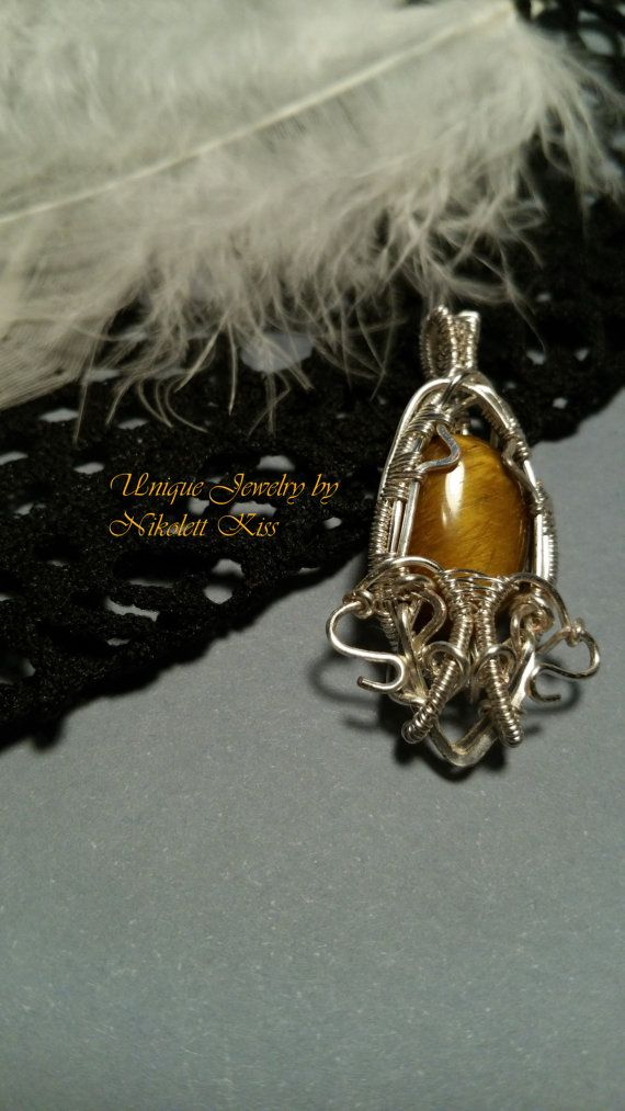 Handmade Unique Silver Plated Wire Wrapped Tiger's Eye Pendant