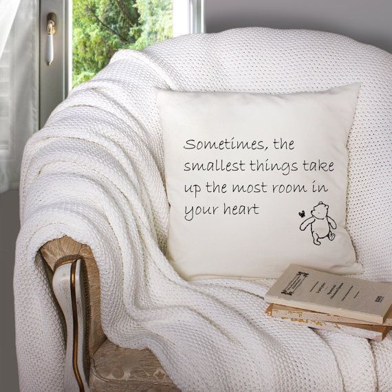 Winnie the Pooh Smallest Things Quote|18X18 Pillow Cover|Baby Shower, Nursery, Adoption Day, New Babies