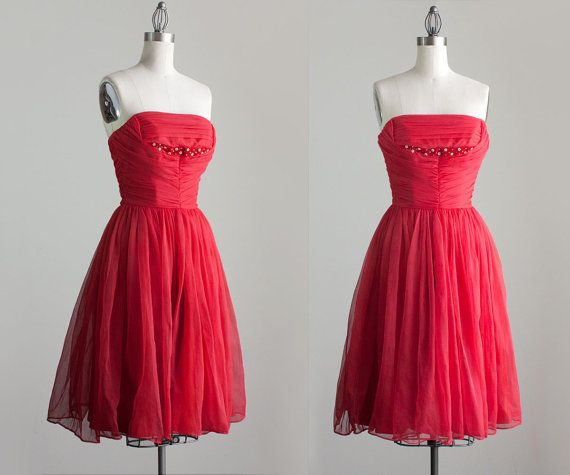 50s Vintage Red Chiffon Strapless Party Dress / Small on Etsy, $220.00