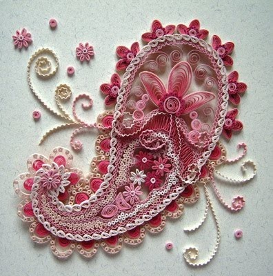 Paisley Design... Looks Like Quilling (Coiled Paper Work)...